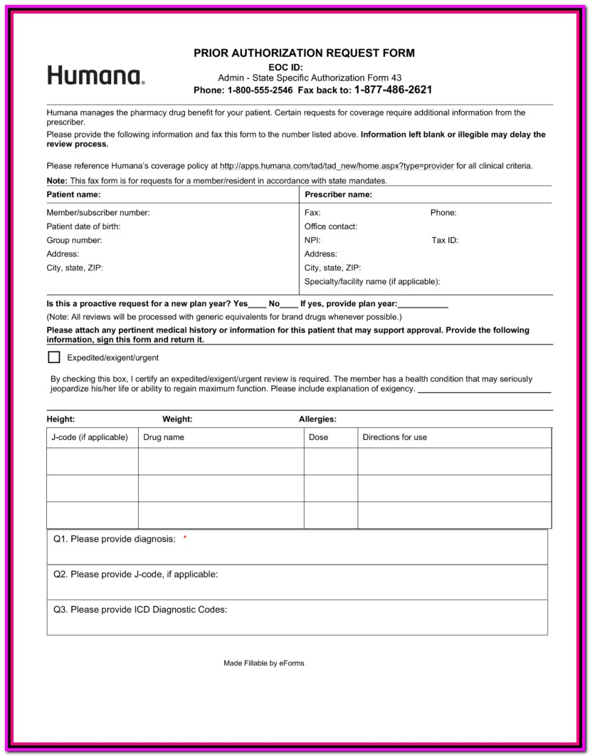 Prior Authorization Form For Medicare Prescription
