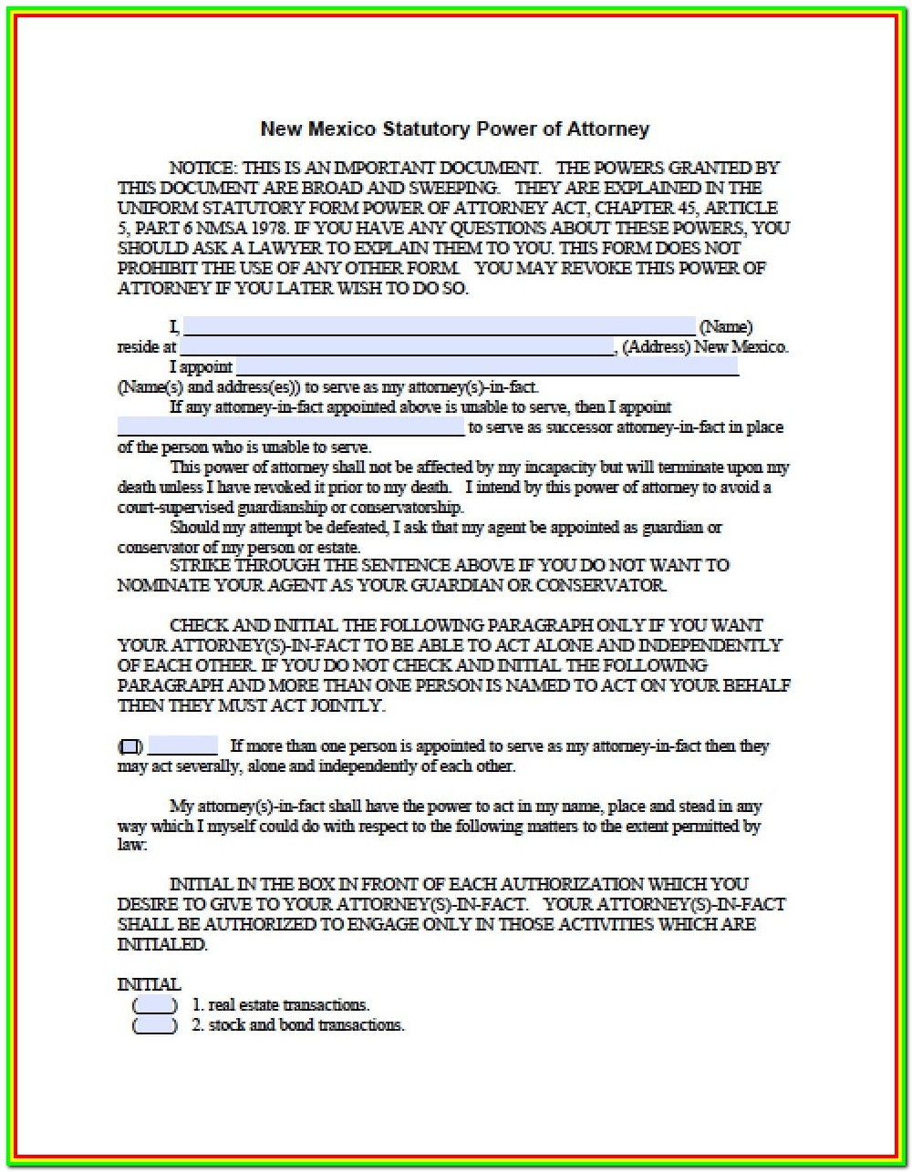 Revocation Of Power Of Attorney Form New Mexico