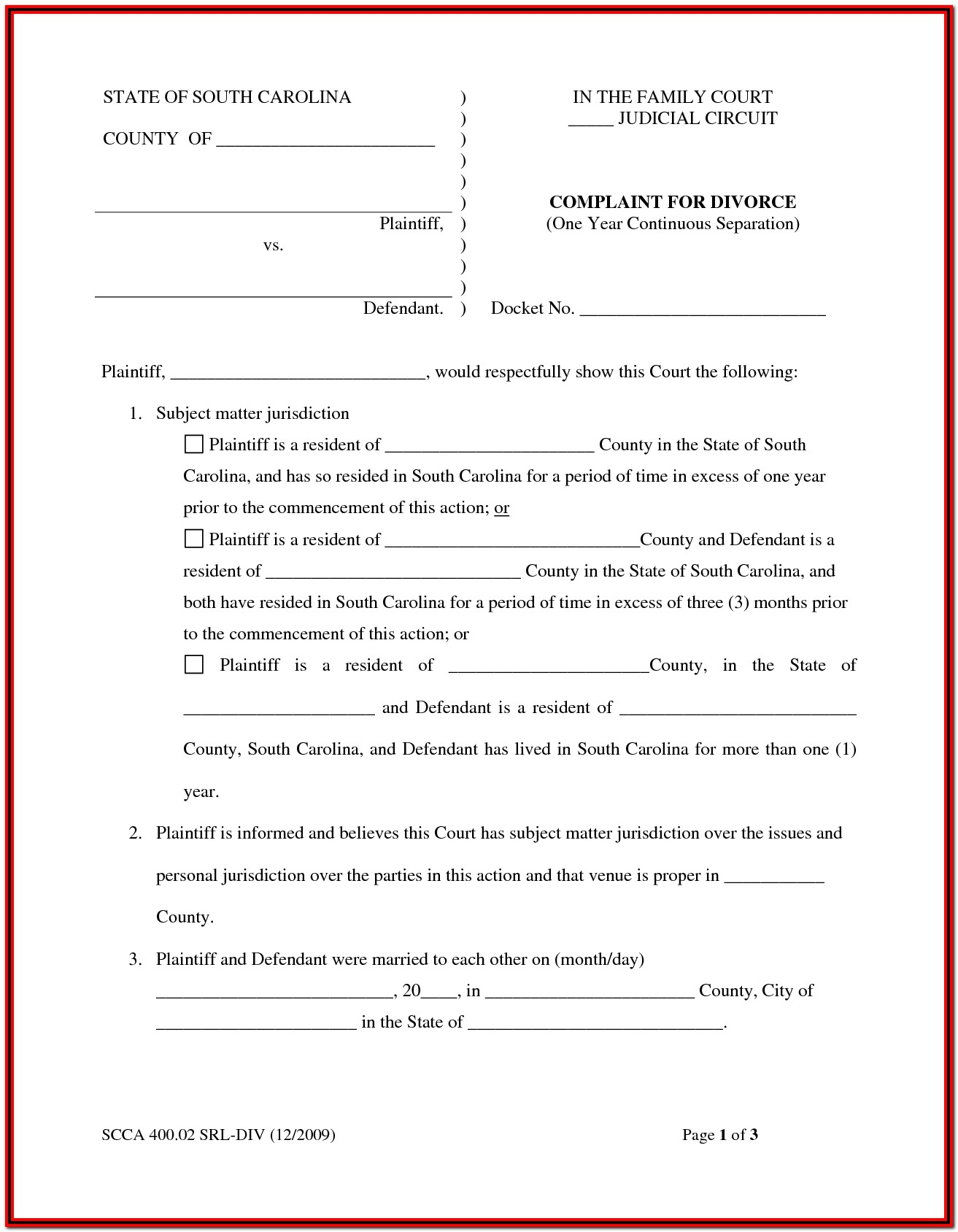 South Carolina Divorce Forms Free
