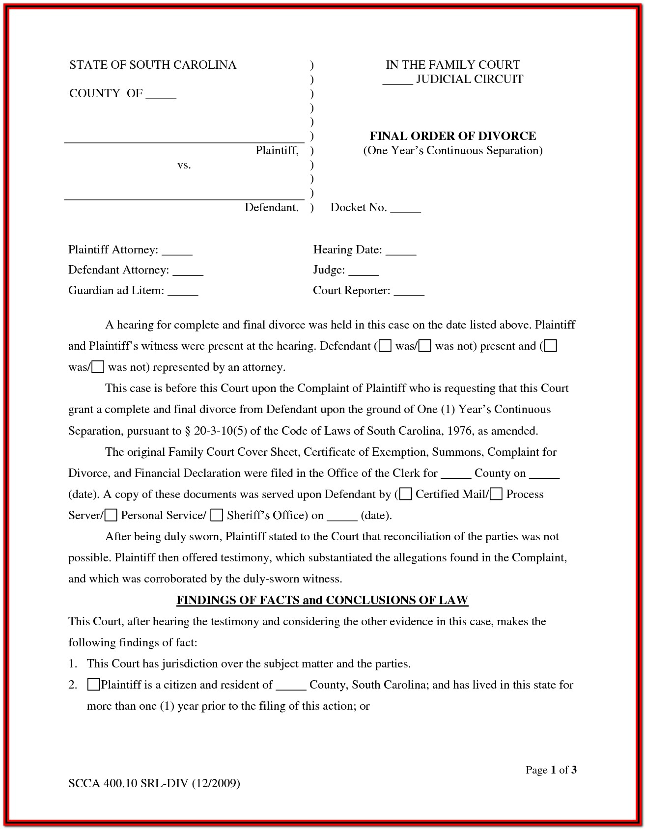 South Carolina Divorce Forms Pdf