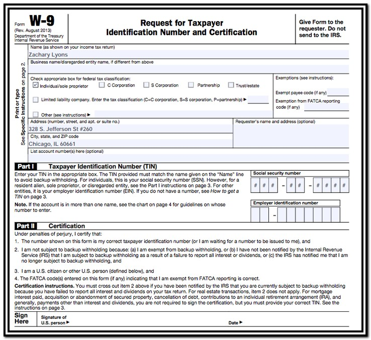 Us Gov Tax Forms W 9