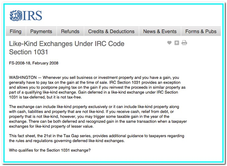 1031 Exchange Form Irs