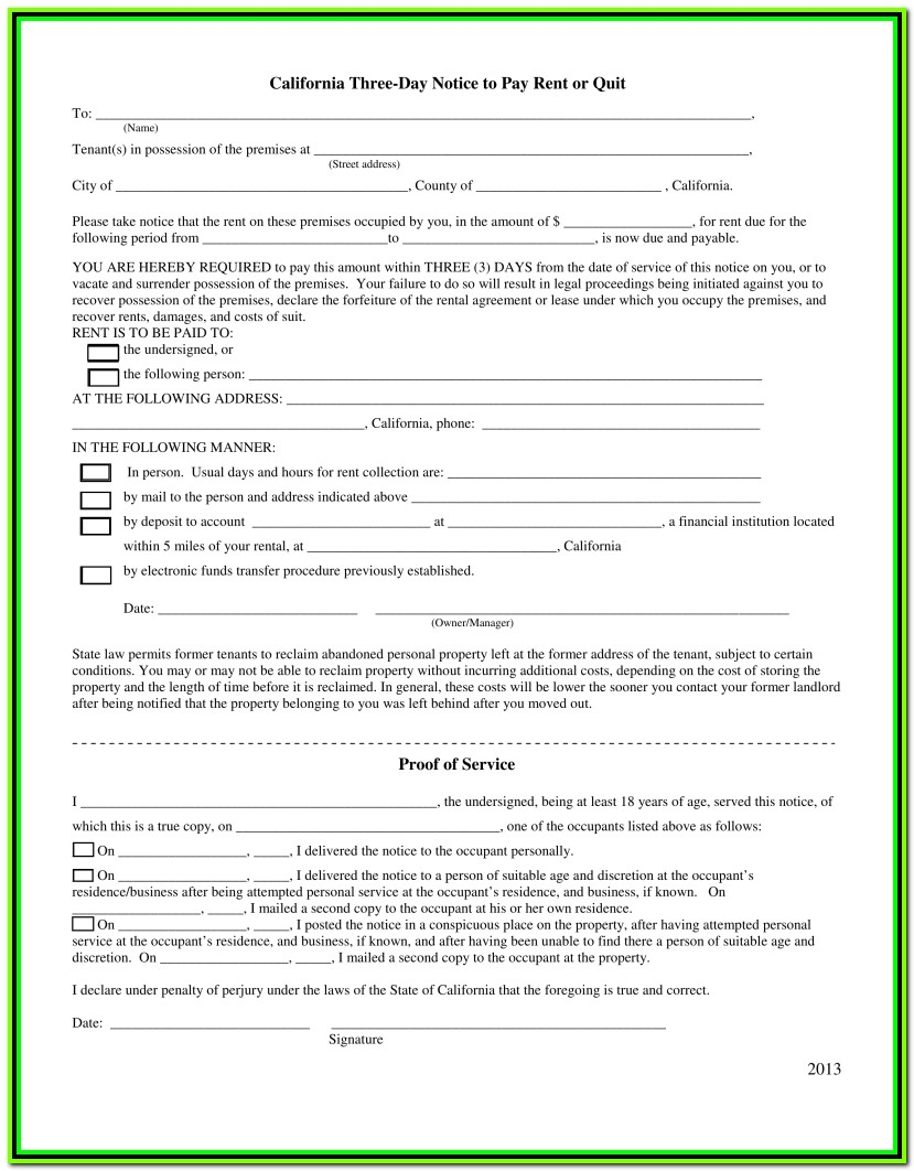 3 Day Eviction Notice Form California Template