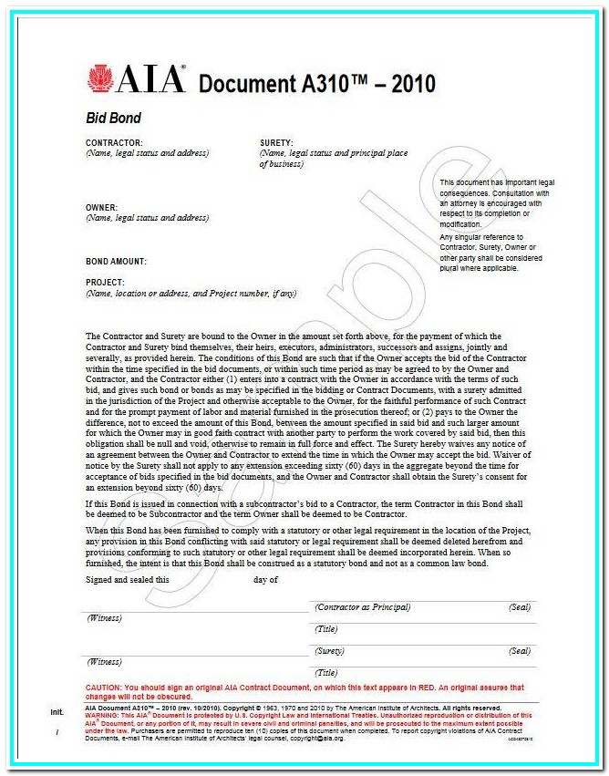 Aia Bid Form Template