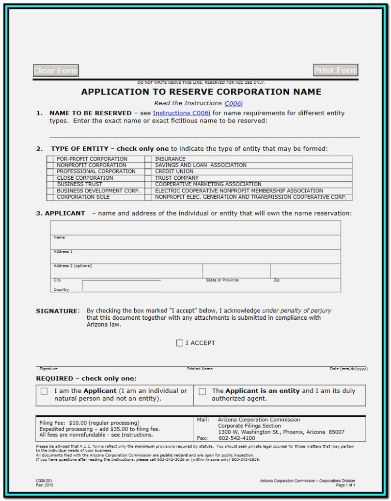 Arizona Llc Filing Forms