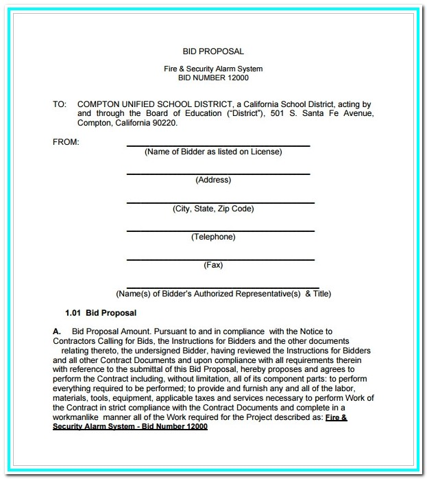 Bid Form Template Pdf