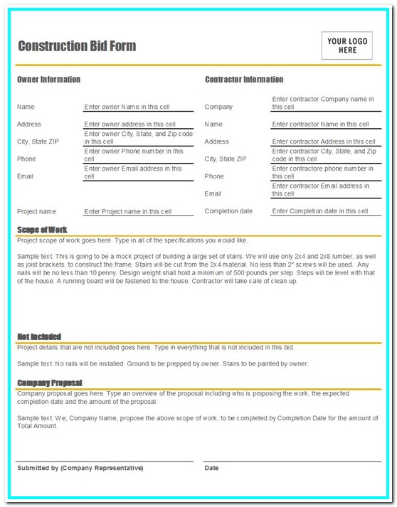 Bid Submission Form Template