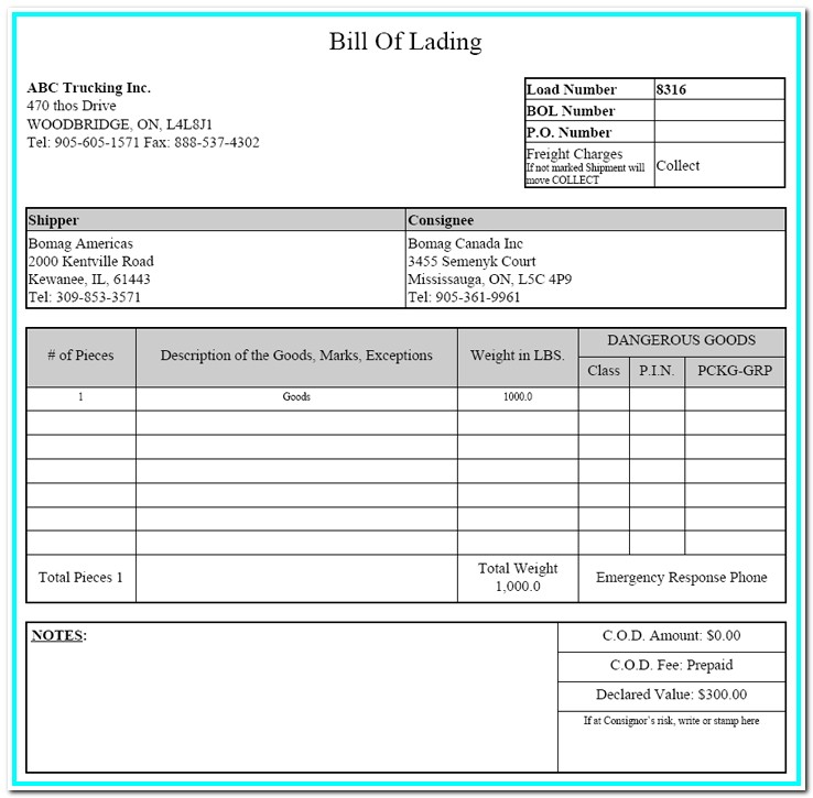 Bill Of Lading Form