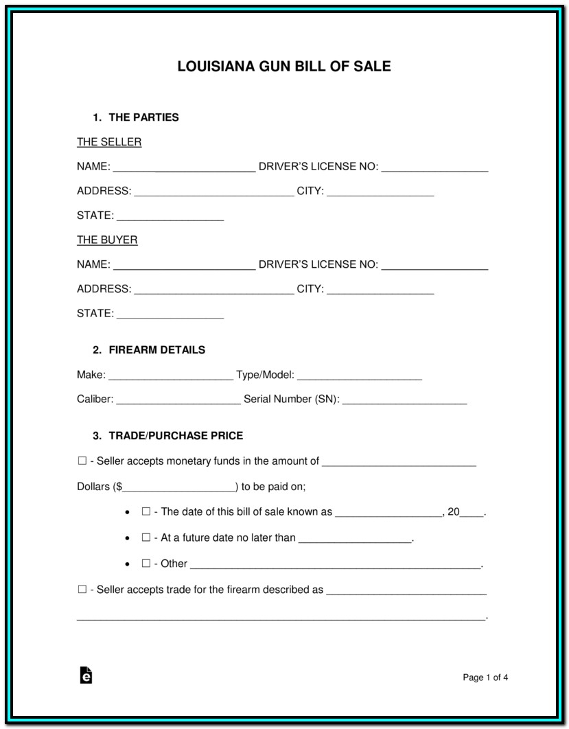 Bill Of Sale Form Louisiana Atv