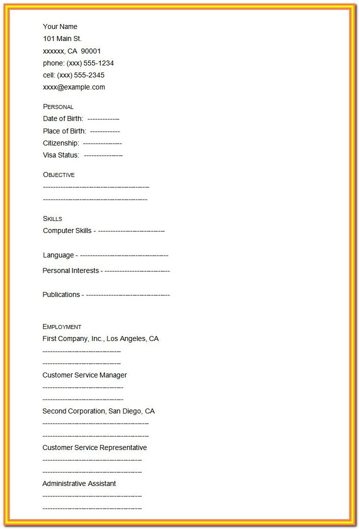 Blank Resume Form Doc