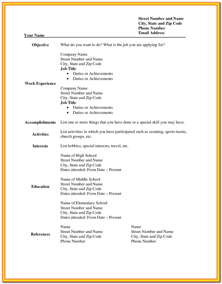 Blank Resume Format In Word Free Download