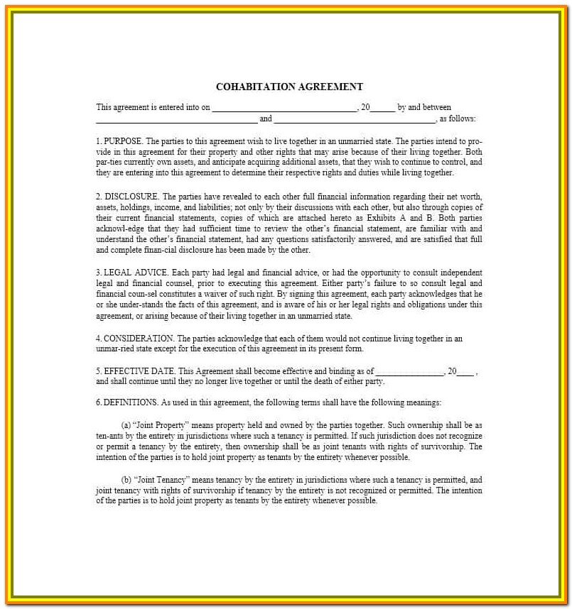 Cohabitation Agreement Form Free