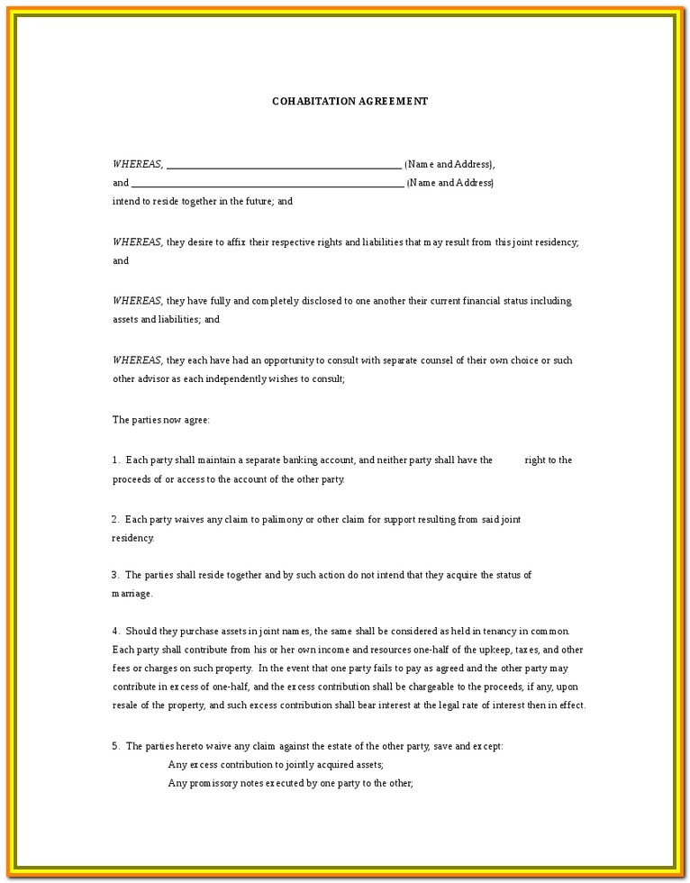 Cohabitation Agreement Form Ontario Canada