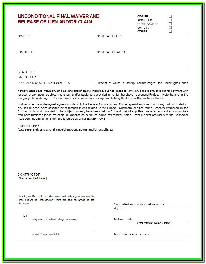 Construction Release Of Lien Form Florida