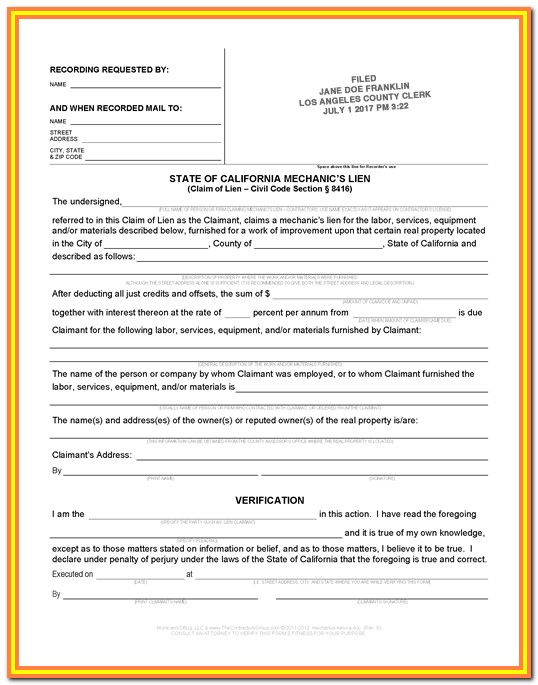 Contractor Lien Release Form California