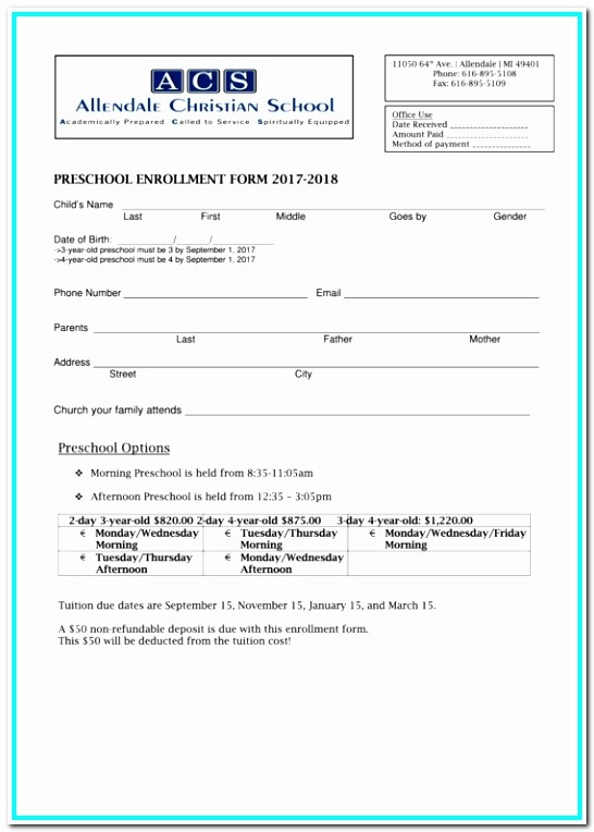 Daycare Enrollment Form Doc