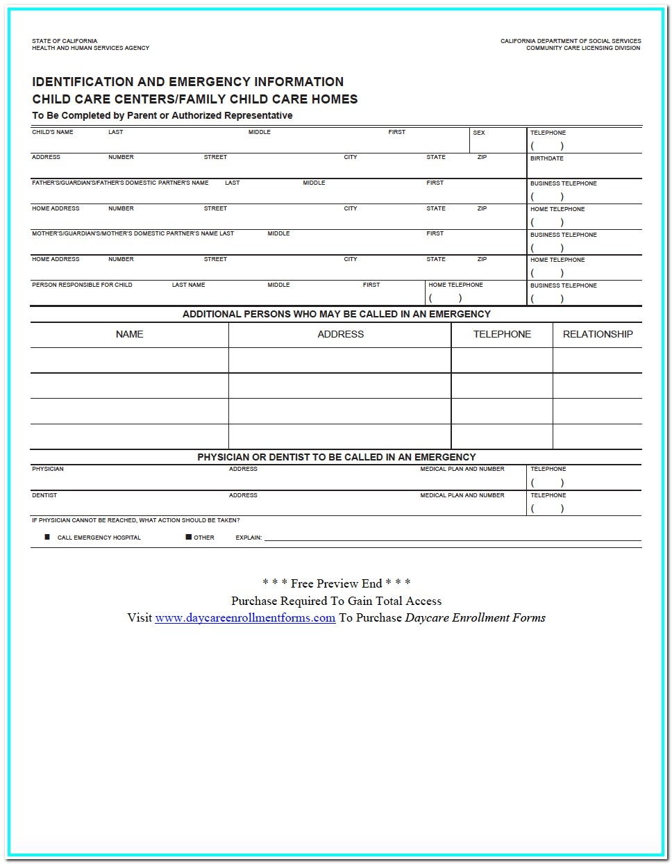 Daycare Enrollment Form