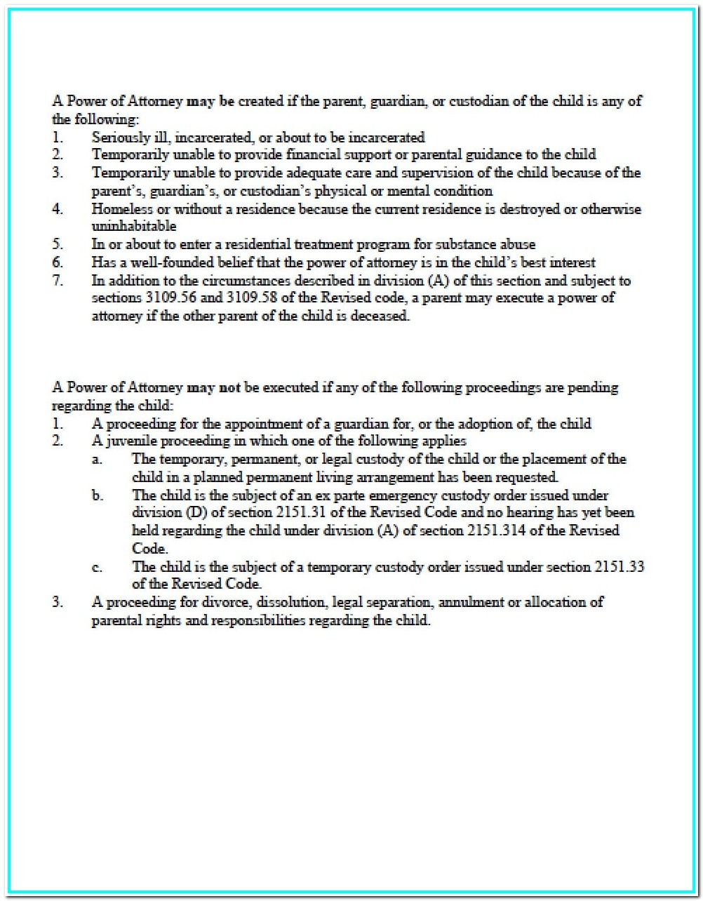 Durable Power Of Attorney Form Ohio Pdf