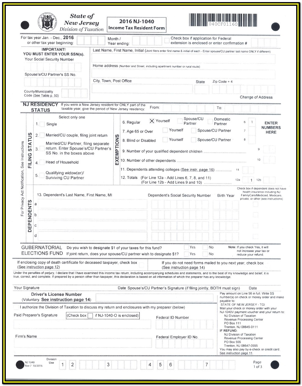 Federal Income Tax Forms 1040 V