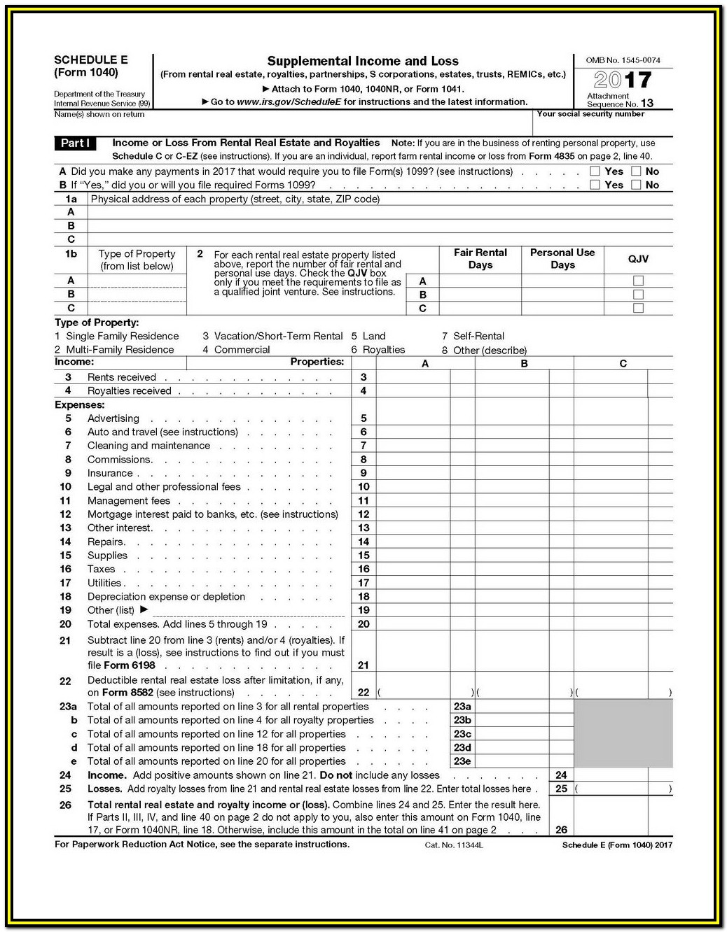 Federal Income Tax Forms 1040a 2017