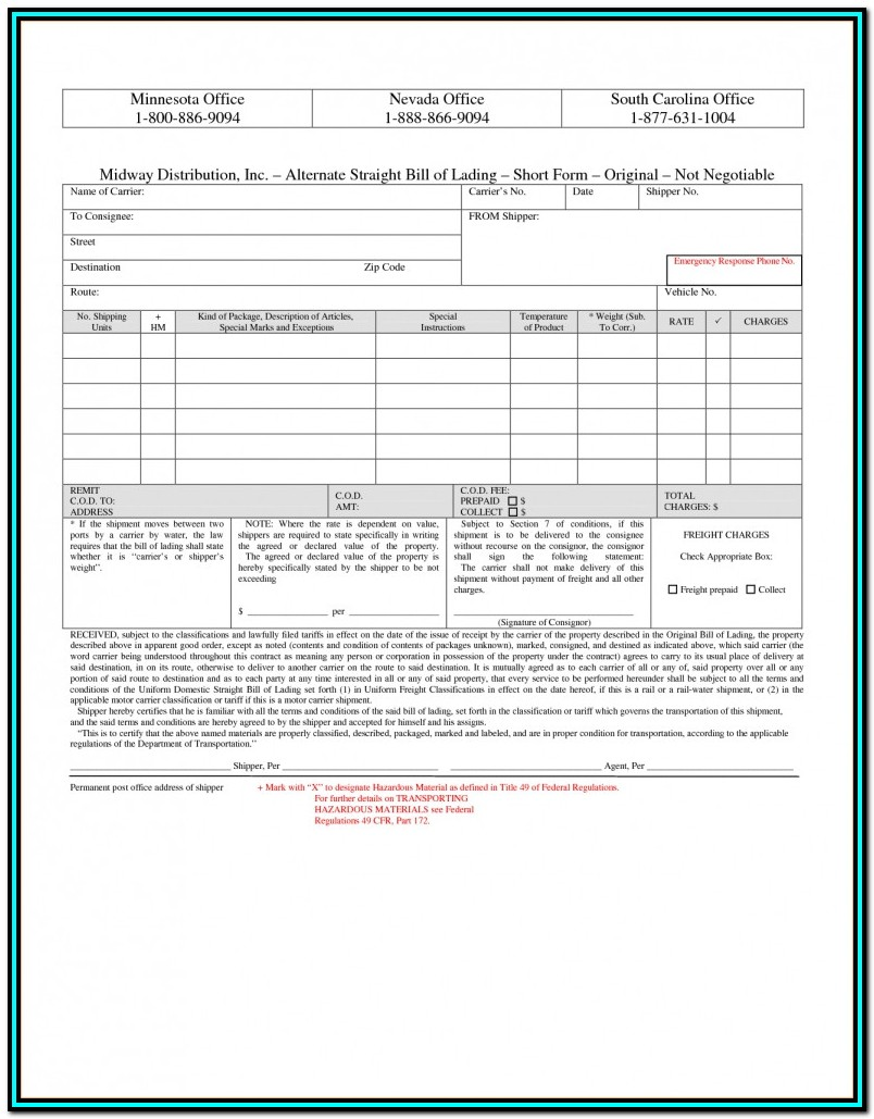 Fedex Bill Of Lading Form