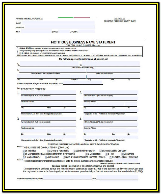 Fictitious Business Name Form Pdf