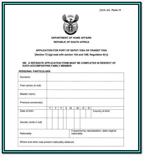 Forms For Passport Renewal South Africa