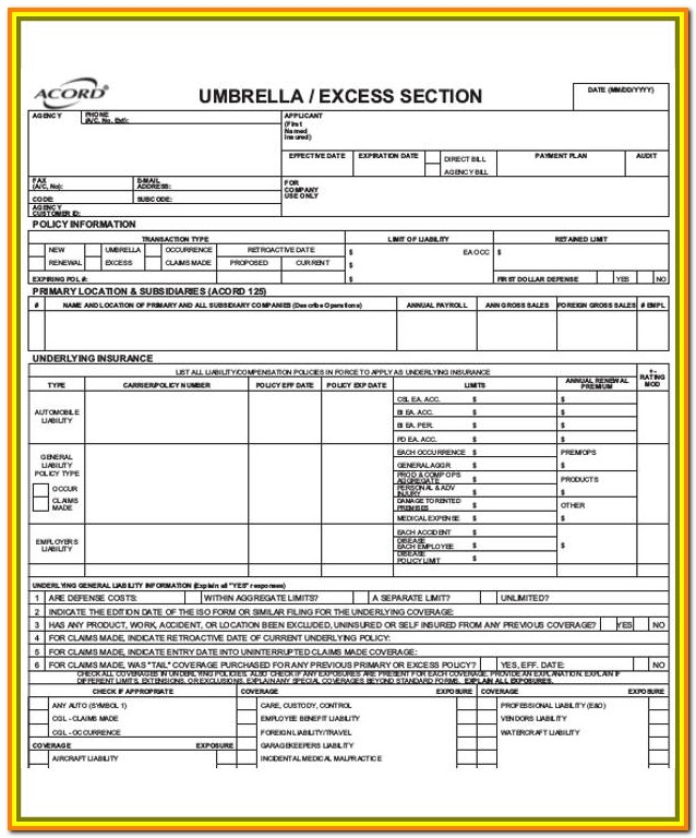 Free Acord 125 Fillable Forms