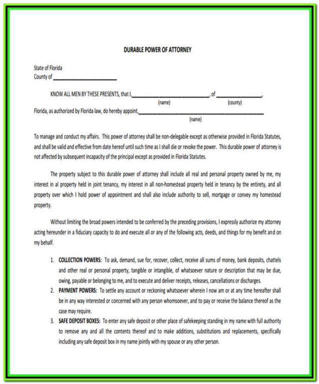 Free Durable Power Of Attorney Form Pdf