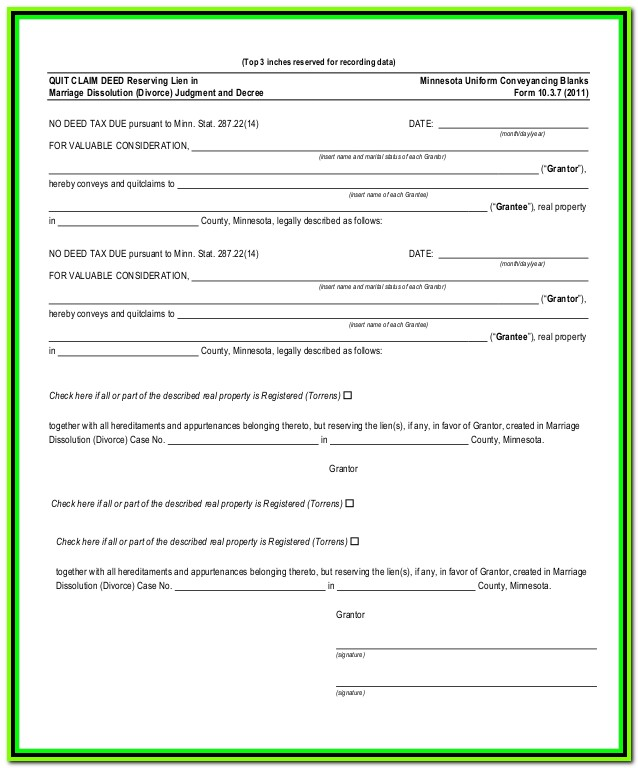Free Quick Claim Deed Form Mn