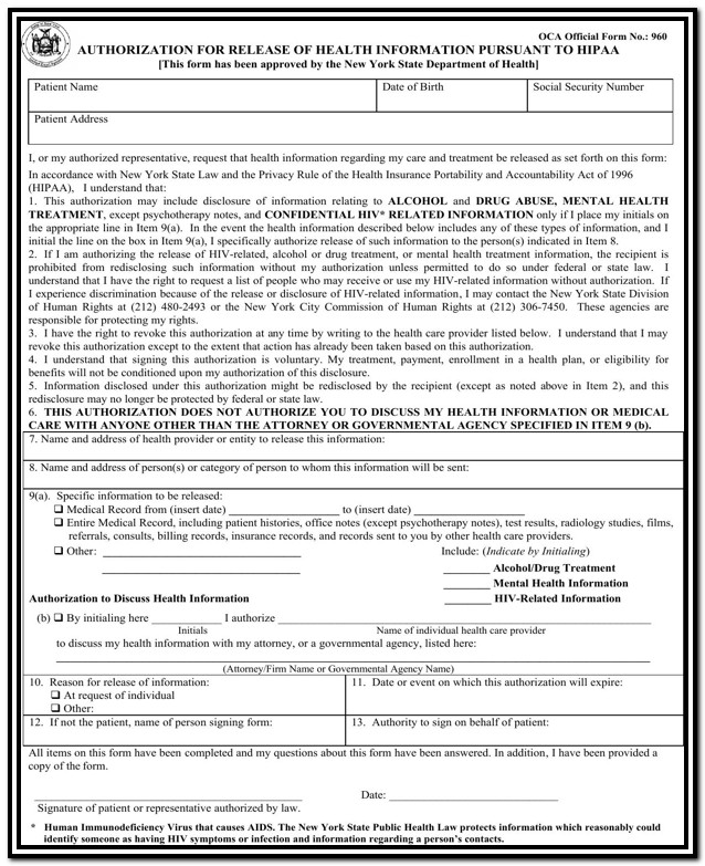 Hipaa Compliant Authorization Form Ny