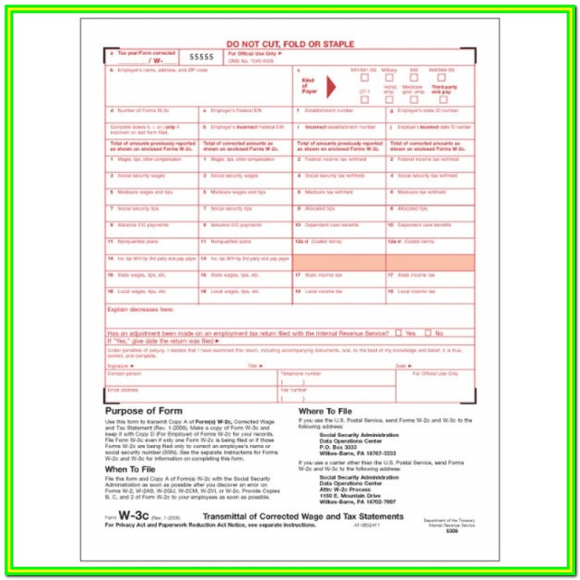 Irs W 2 And W 3 Forms