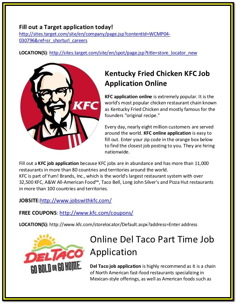 Kfc Job Application Form Online