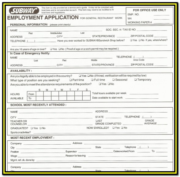 Kfc Job Application Form Pdf