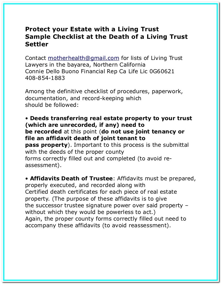 Living Trust Example California