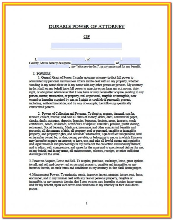 Maine.gov Power Of Attorney Form