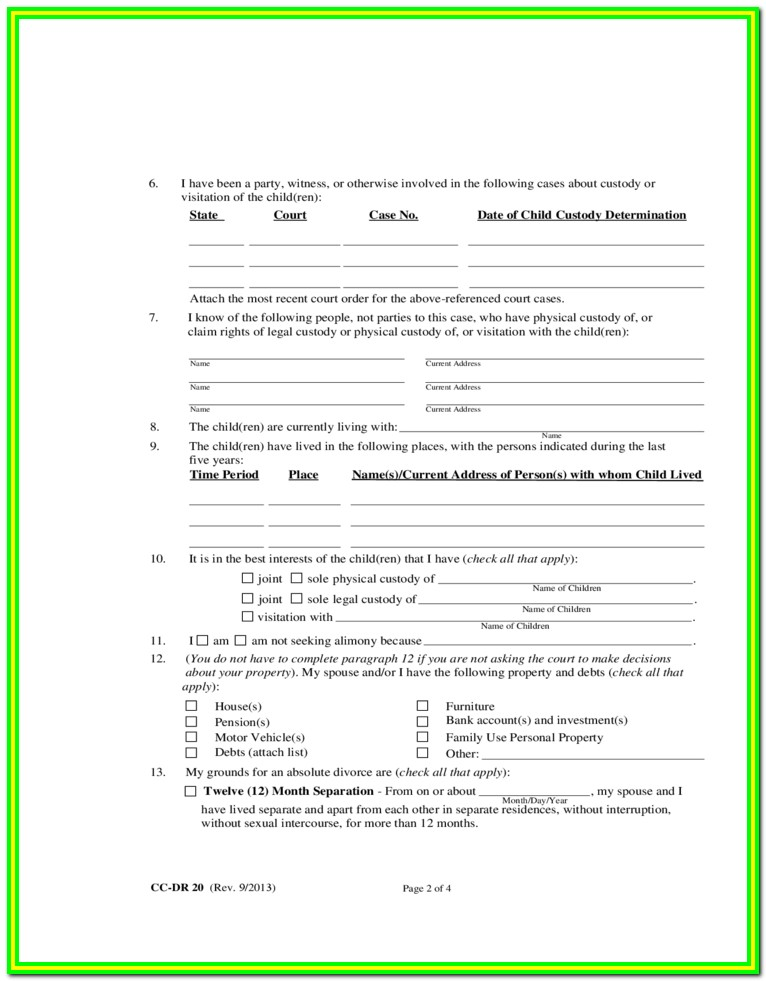 Md Court Divorce Forms
