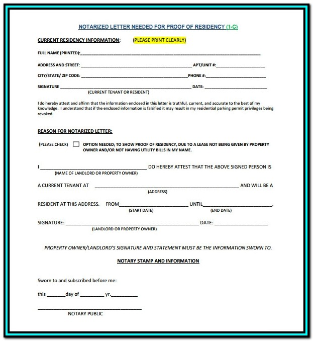 Notary Affidavit Format For Address Proof