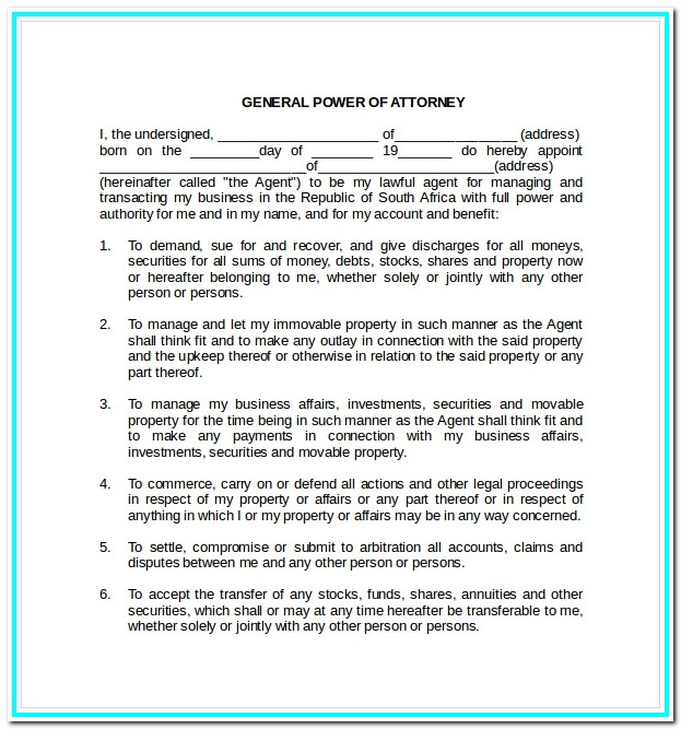 Printable Durable Power Of Attorney Form Ohio