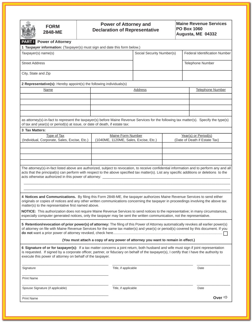Printable Power Of Attorney Form Maine