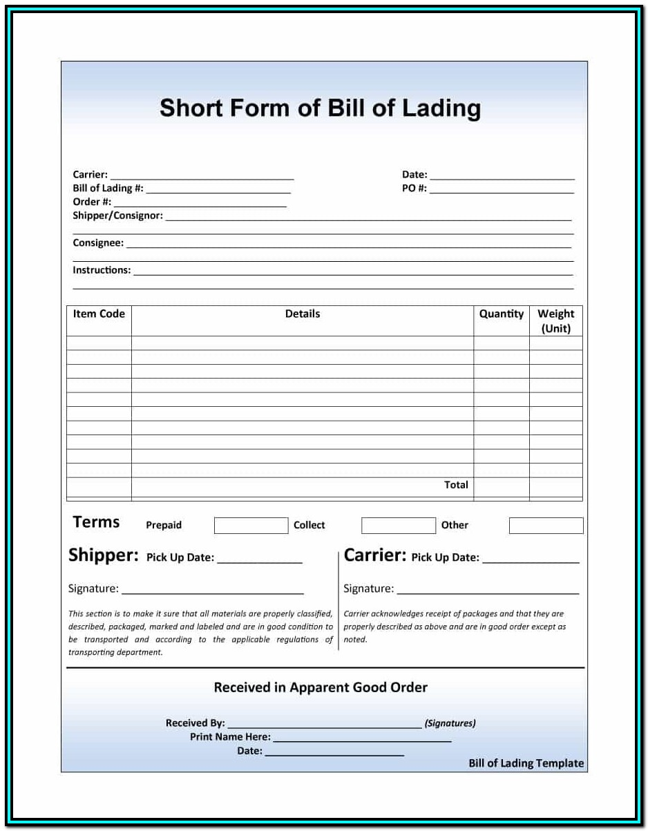 Short Form Bill Of Lading