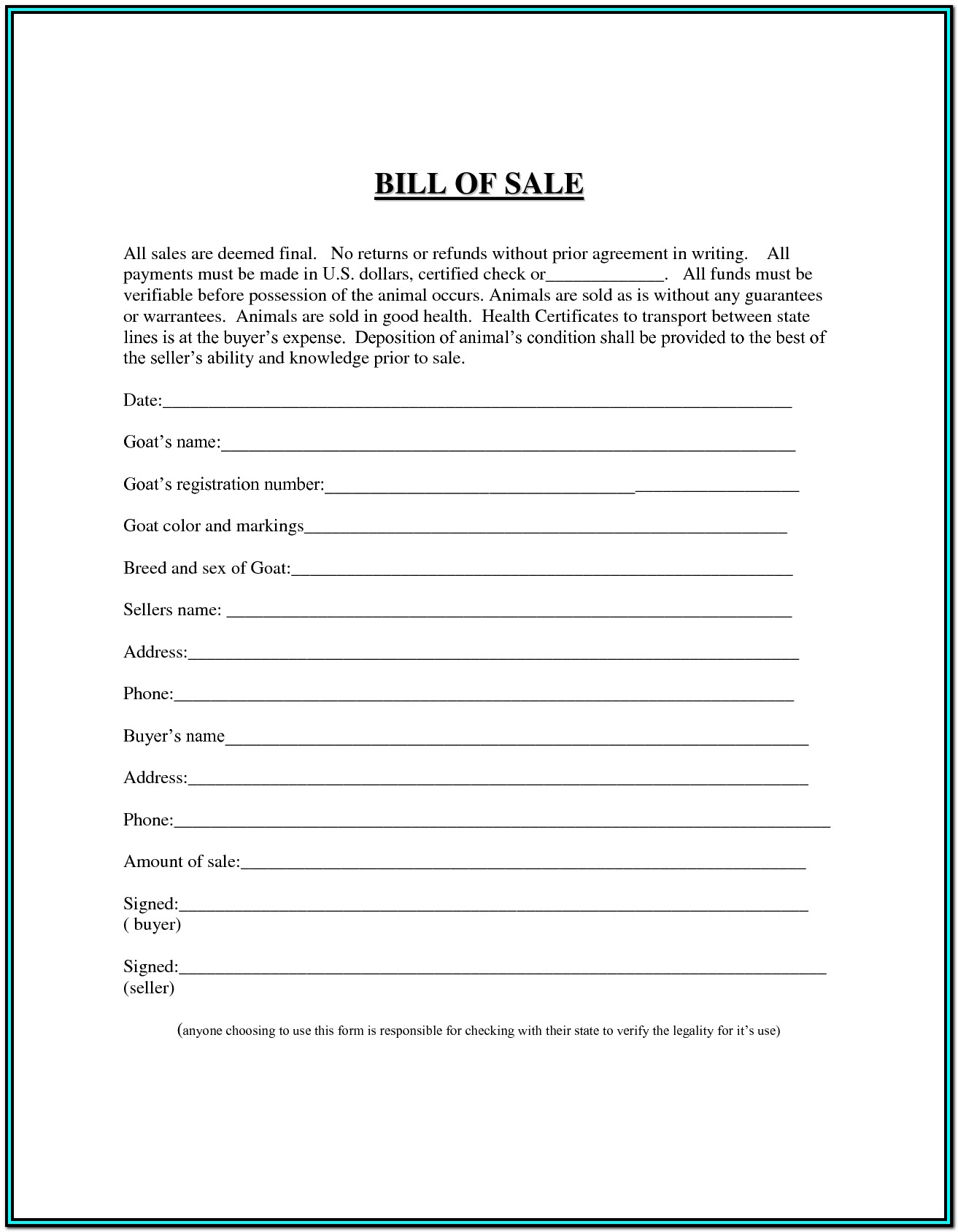 Simple Bill Of Sale Form Atv