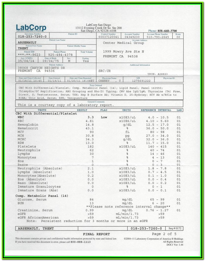 Std Test Result Form Printable
