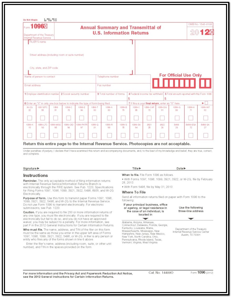 Tax Form 1096 For 2015