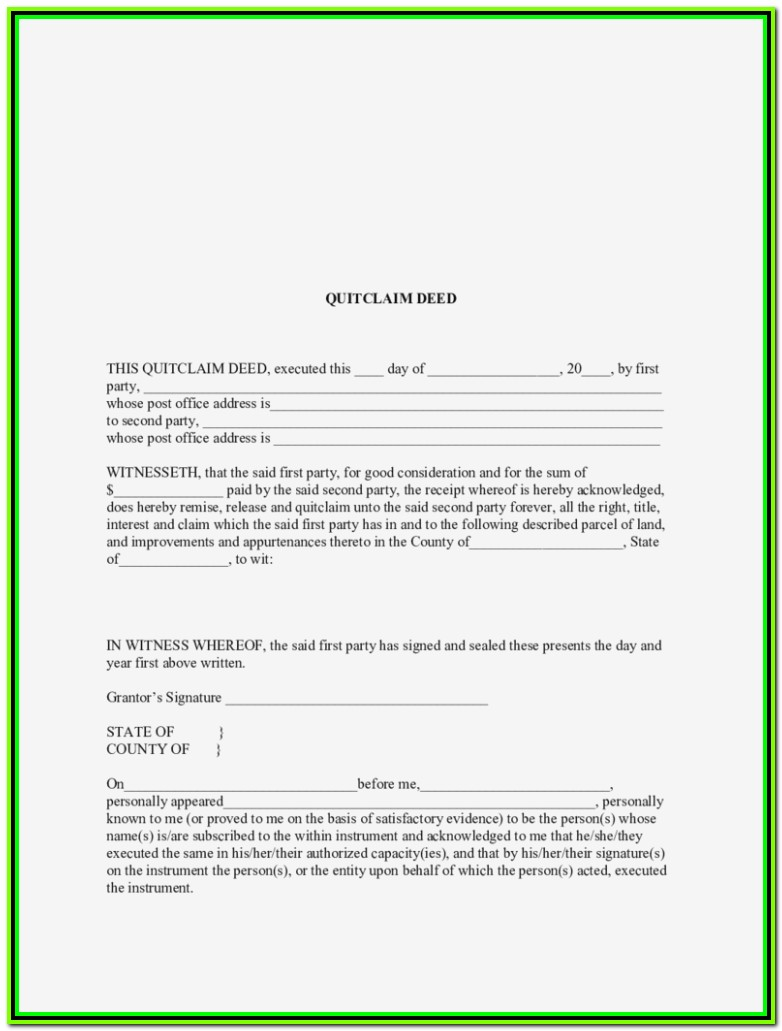Texas Quit Claim Deed Form Pdf