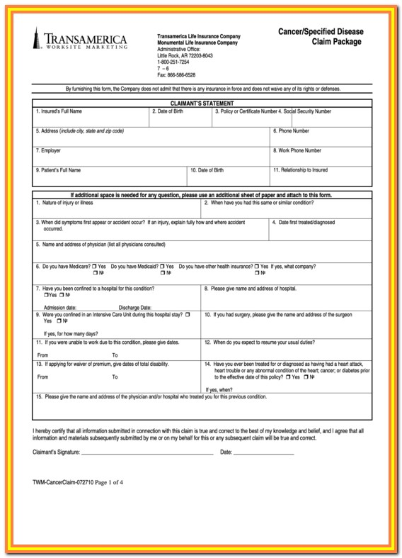 Transamerica Life Insurance Surrender Forms