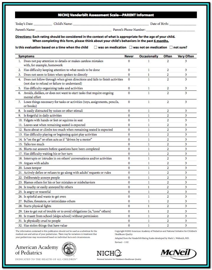 Vanderbilt Adhd Evaluation Forms