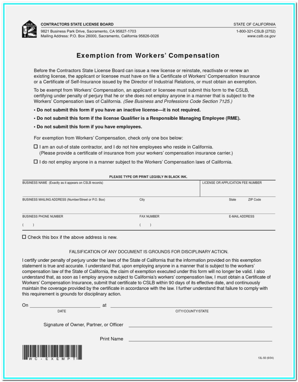 Workmans Comp Waiver Form Michigan