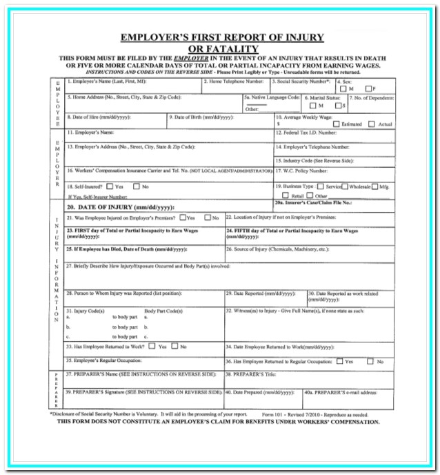 Workmans Comp Waiver Form Texas