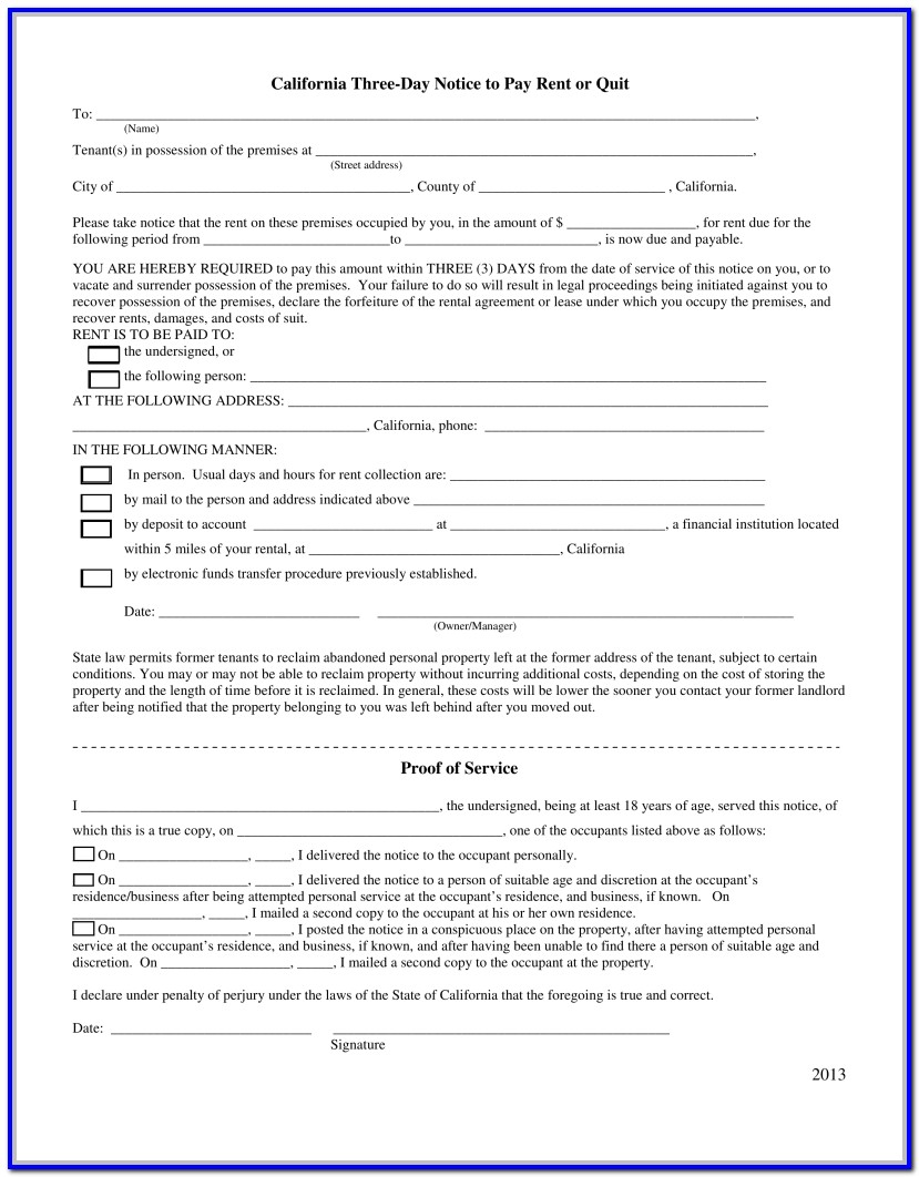 3 Day Notice To Pay Rent Or Quit Form Colorado